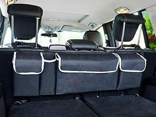 Backseat Car Trunk Organizer, Lumsing 2 in 1 Trunk Organizer with 4 Pocket Car Storage bag Back Seat Organizer for kids, Multipurpose Cargo Accessories SUV & Car Organizer