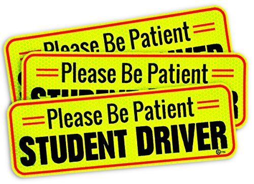 Custom Autos Car Bumper Magnet – 3-Pack Premium Quality Please Be Patient Student Driver Effective Bumper Decal Neon Yellow
