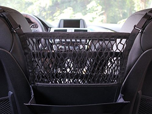 AMEIQ 3-Layer Car Mesh Organizer with Leather Box, Seat Back Net Bag, Barrier of Backseat Pets Children Kids, Cargo Tissue Purse Holder, Driver Storage Netting Pouch. 3 optional styles