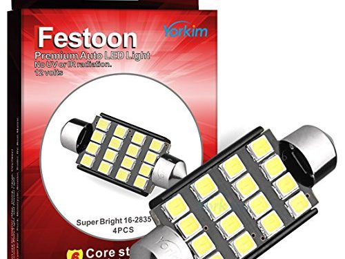 Yorkim 4x 42mm1.72″ 16-SMD 2835 DC 12V Super Bright White LED Bulb for 211, 212, 211-2, 212-2, 214-2, 560, 569, 578, 6413, 6429 etc.