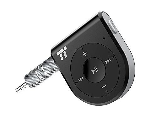 Bluetooth Receiver, Two Microphones 15 Hour Bluetooth Car Kit, TaoTronics Bluetooth 4.1 Portable Wireless Audio Adapter 3.5mm Aux Stereo Output  One Click Siri Activation,DSP/cVc 6.0/A2DP/AVRCP/AAC