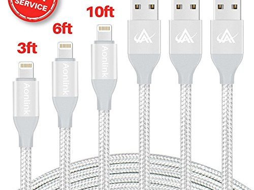 iPhone Charger, Aonlink iPhone Charger Cable Cord Lightning to USB Nylon Braided with Aluminum Connector 3Pack 3FT 6FT 10FT for iPhone 7/7 Plus/6s/6s Plus/6/6Plus/5s/5c/5, iPad/iPod Models-Silver