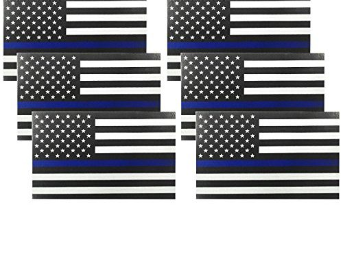 Reflective US Flag Decal Packs with Thin Blue Line for Cars & Trucks, 5 x 3 inch American USA Flag Decal Sticker Honoring Police Law Enforcement 3M Vinyl Window Bumper Tape 6-PACK Black6 Pack