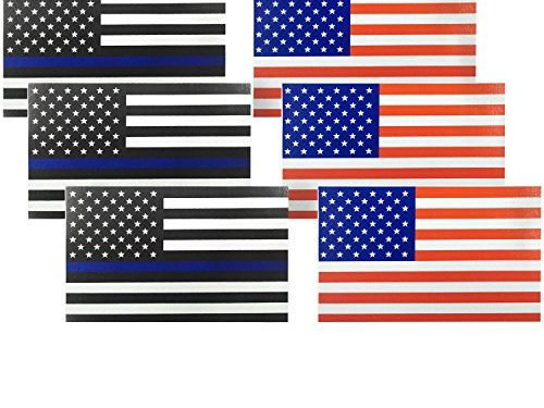 6 Pack, Reflective US Flag Decal for Cars & Trucks, 5 x 3 inch American USA Flag Decal Sticker Honoring Police Law Enforcement 3M Vinyl Window Bumper Tape