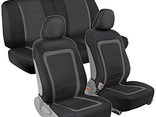 Instant Install Sideless Fronts + Full Interior Set for Auto Black / Charcoal Gray – Advanced Performance Car Seat Covers