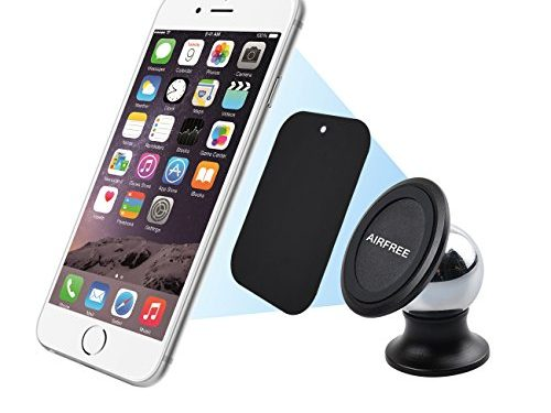 Magnetic Phone Holder, AIRFREE Magnetic Car Mount Holder for iPhone 6, 6S, SE, 6 Plus, 6S Plus, iPhone 5, 5S, Galaxy S5, S6, S7, S6 Edge, Note 3, 4, 5, Fits All Smartphones Silver