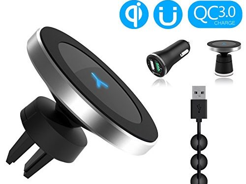 Wannap W5 Wireless Magnetic Qi Car Charger +Car Quick Charger 3.0 QC 3.0 put to go series for Samsung Galaxy S8 S8 Plus S7 S7 Edge S6 Edge Note5 and More