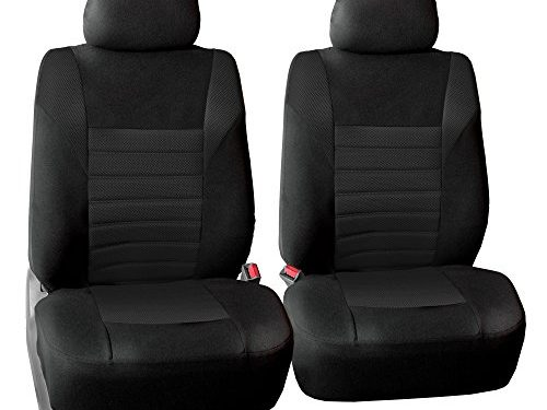 FH GROUP FH-FB068102 Premium 3D Air Mesh Seat Covers Pair Set Airbag Compatible, Solid Black Color- Fit Most Car, Truck, Suv, or Van