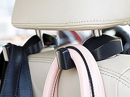 Headrest Car Hooks, Yakecan Universal Car Vehicle Back Seat Headrest Hanger Holder Hook for Shopping Bag Purse Cloth Grocery Black -Set of 2