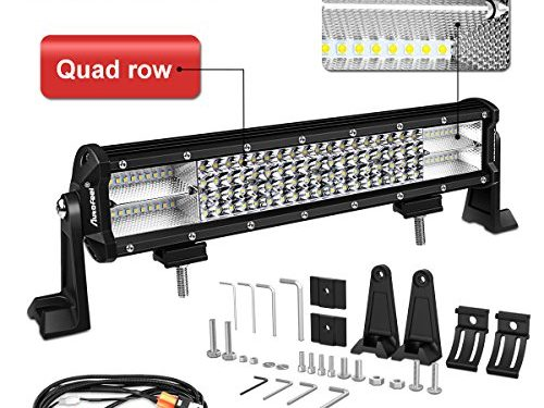 LED Light bar, AutoFeel 15″ 324W 8D Quad Row Spot Flood Combo Beam Lightbar Off Road Auto Work LED Light Bar with Slide Mounting Brackets for Truck Jeep ATV UTV