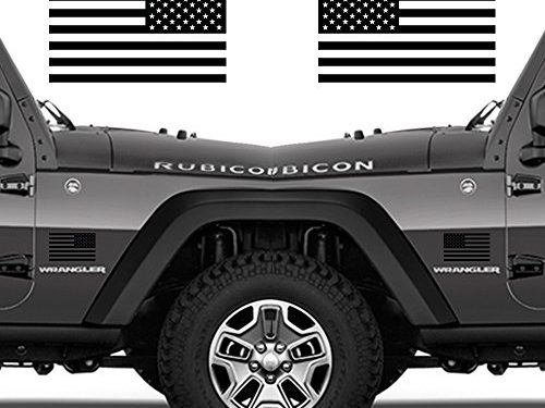 Subdued American Flags Tactical Military Flag USA Decal JEEP 5″x3″ Pair Gloss Black Also Available in Matte Black and Gloss White