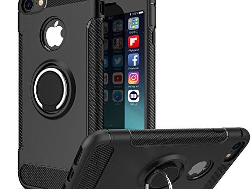 iPhone 8 Case, iPhone 7 Case, iCaber 360 Rotating Ring Grip Holder Stand & Metal Patch Shock-Absorption Drop-Protection Hard PC Shell & Soft TPU for Apple iPhone 8 2017 / iPhone 7 2016 – Black