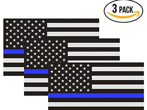 Reflective Thin Blue Line Flag Decal – 3×5 in. American USA Flag Decal for Cars and Trucks, Support Police and Law Enforcement Officers 3 Pack