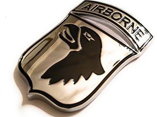 Military Army Chrome Metal Decal Auto Emblem 101st Airborne