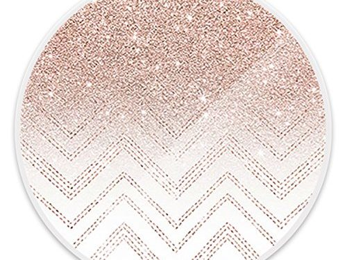 Pop Mounts and Stands, Multi-Function Expanding Pop Stand Grip for All Smartphones, iPhone and Tablets – Rose Gold Glitter Ombre