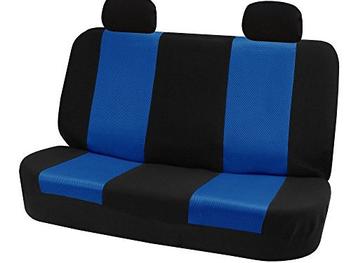 FH GROUP FH-FB102R012 Classic Solid Bench Car Seat Cover Blue / Black- Fit Most Car, Truck, Suv, or Van