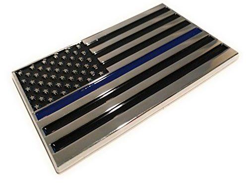 Military Army Chrome Metal Decal Auto Emblem Back the Blue Flag