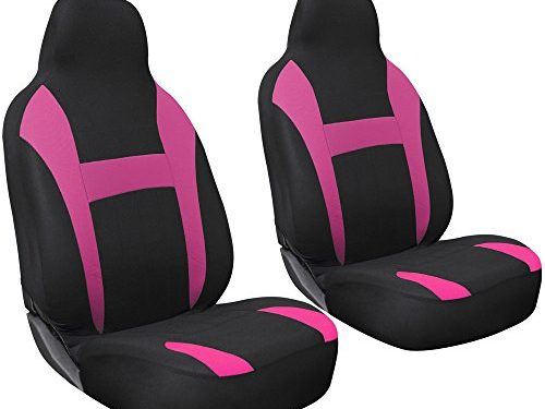 Universal Fit for Car, Truck, Van, SUV – OxGord 2pc Integrated Flat Cloth Bucket Seat Covers – Pink/ Black