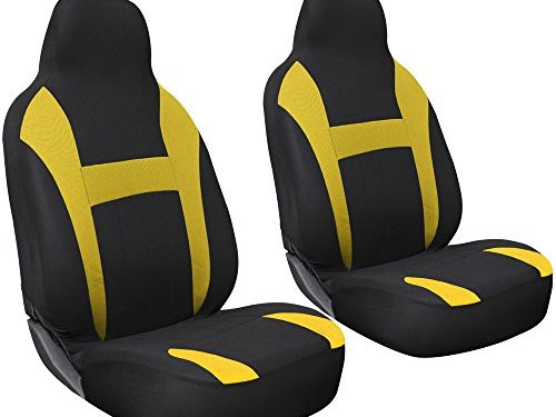 Universal Fit for Car, Truck, Van, SUV – OxGord 2pc Integrated Flat Cloth Bucket Seat Covers – Yellow/ Black