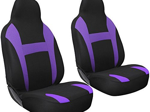 OxGord 2pc Integrated Flat Cloth Bucket Seat Covers – Purple/ Black – Universal Fit for Car, Truck, Van, SUV