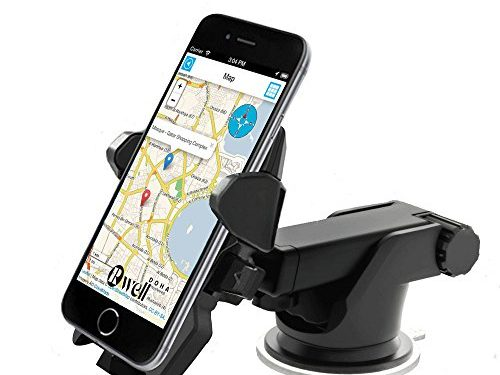 Car Phone Holder, Rowell 360 Rotating Universal Windshield Dashboard Car Mobile Phone Mount CradleAdjustable Distance with Sucker for iPhone 7/7 Plus,iPhone 6, Samsung Galaxy S8 and Other Smartphone