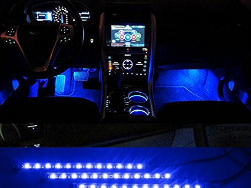 iTimo Car Auto Vehicle Interior Decoration Atmosphere Lights Led Flexible Strip Light Bar – Blue 4 x 12LED DC12v