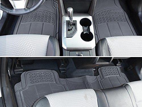 BDK ProLiner Heavy Duty Rubber Auto Floor Mats Liner for Auto – All Weather 3 Piece Set Gray