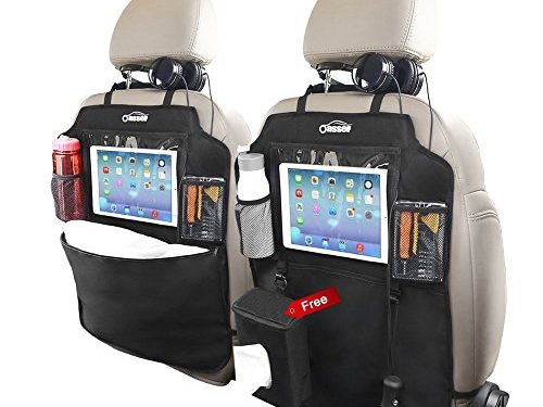 Oasser Kick Mats Car Back of Seat Protector 2 XL with 1 Tissue Box Clear 10″ Ipad Holder 3 Large Storage Organizers