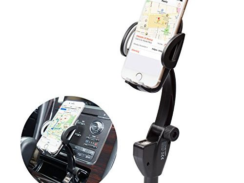 Ucharm Phone Car Mount Holder, 3-in1 Cigarette Lighter Car Mount Charger with Dual USB Ports Adjustable Goose-neck for iPhone 8/8 Plus/7/7 Plus/6, Samsung Galaxy S8/ S7 Edge and More Smartphones