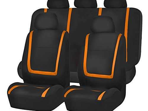 FH GROUP FH-FB032115 Unique Flat Cloth Seat Cover w. 5 Detachable Headrests and Solid Bench Orange / Black- Fit Most Car, Truck, Suv, or Van