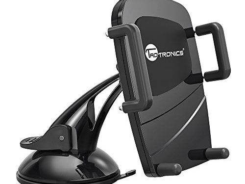 TaoTronics Car Phone Mount for Windshield Dashboard Universal Smartphone Car Holder, Car Cradle for Android, iOS and More