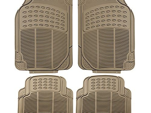 FH Group F11305BEIGE Tan All Weather Floor Mat, 4 Piece Full Set Trimmable Heavy Duty