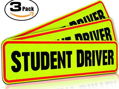 Student Driver Magnet Car Signs for the Novice or Beginner. Better than A Decal or Bumper Sticker Reusable Reflective Magnetic Large Bold Visible Text 12″ Student Driver Reflective