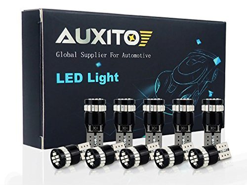 AUXITO 194 LED Light Bulb,Extremely Bright Red 168 2825 W5W T10 Wedge 24-SMD 3014 Chipsets LED Replacement Bulbs for Car Dome Map License Plate Lights Pack of 10