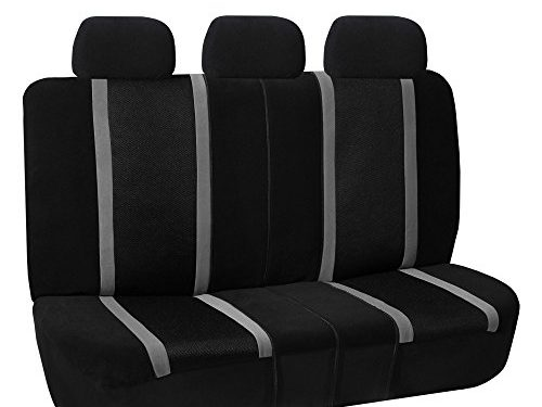 FH GROUP FH-FB070013 Sports Fabric Split Bench Car Seat Cover 40/60 split, 40/20/40 split and 50/50 split, Gray / Black- Fit Most Car, Truck, Suv, or Van
