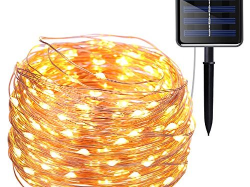 AMIR Solar Powered String Lights, 200 LED Copper Wire Lights, 72ft 8 Modes Starry Lights, Waterproof IP65 Fairy Christams Decorative Lights for Outdoor, Wedding, Homes, Party, Halloween Warm White