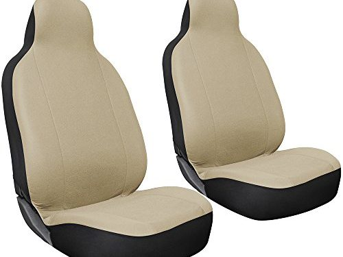 Universal Fit for Car, Truck, Van, SUV – OxGord 2pc Integrated Flat Cloth Bucket Seat Covers – Solid Beige
