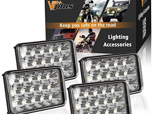 4pcs 4×6 Headlights Led Assembly Partsam Sealed Beam Kenworth Peterbilt Headlights H4651 H4656 Led Headlights Rectangular H4652 H4666 H6545 for Freightinger Ford Probe Chevrolet Oldsmobile Cutlass
