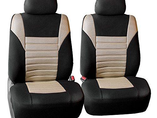FH GROUP FH-FB068102 Premium 3D Air Mesh Seat Covers Pair Set Airbag Compatible, Beige / Black Color- Fit Most Car, Truck, Suv, or Van
