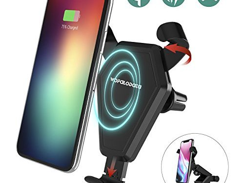 Fast Wireless Charger, Wofalodata Car Mount Air Vent Phone Holder Cradle for Samsung Galaxy Note 8/ S8/ S8+/ S7/ S6 Edge+/ Note 5, QI Wireless Standard Charge for iPhone 8/ 8 Plus/ X
