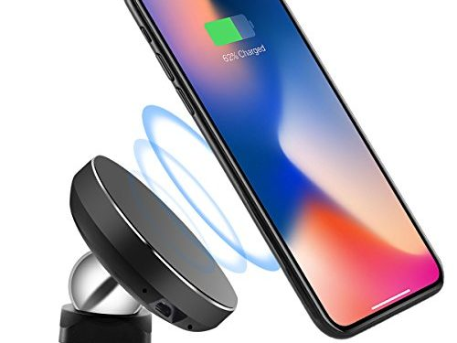 Magnetic QI Wireless Charger Phone Holder, Oenbopo Wireless Car Cradle Charger Mount Phone Holder for Samsung Note8/5/4,S8/S8+,S7/S7+/S6/S6 Edge and Others Qi Enabled Phones