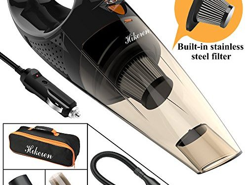 Hikeren Car Vacuum Cleaner, DC 12-Volt 106W 4300-4500PA Handheld Wet&Dry Multifunctional Auto Vacuum Cleaner, 16.4FT5MPower Cord with LED Light Stainless Steel HEPA Filter, One Carry Bag Black