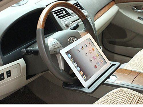 Jeasun Vehicle Portable Desk, Steering Wheel Multi-use Tray Stand/Car Food Eating Table/iPad holder, Black