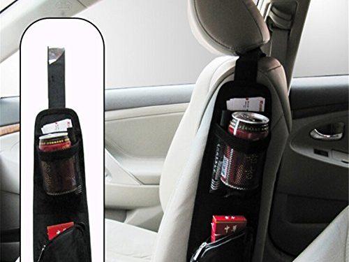 ZATOOTO Portable Hanging Storage Bag With Multi-pocket Mesh – Cell Phone Sun Glasses Drinks Holder Travel Organizer Black – Universal Car Seat Storage Organizer