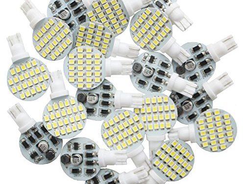 Deponstar-20 x T10 LED Light Bulb Super Bright 6000k 12v 4.8w 921 168 194 Trailer,Boat,RV,Iandscaping & Camper Interior Wedge 24-SMDPure White
