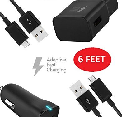 Motorola DROID Turbo Charger 6 FEET Micro USB 2.0 Cable Kit by TruWire – {Wall Charger + Car Charger + 2 Cable} True Digital Adaptive Fast Charging uses dual voltages for up to 50% faster charging!