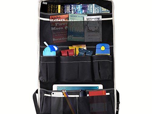 MoKo Multi-Pocket Car Backseat Organizer, Kick Mat Seat Back Protector, Foldable Travel Storage Bag Holder for Book / Bottle / Cool Beer / Tissue Box / Toys  Black & Beige