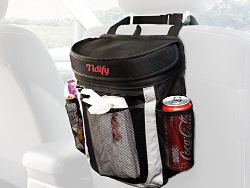 Car Trash Bag   100% Leak Proof Garbage Can / Litter Bag / Seat Organizer to Keep Your Car Clean and Tidy   25 Disposable Trash Liners   Large Flip Up Lid to prevent Bad Odors