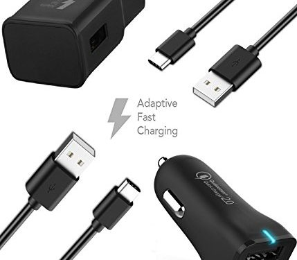 {Car Charger + Wall Charger + 2 Type-C Cable} Adaptive Fast Charging 50% faster charging! – Samsung Galaxy Note 8 Adaptive Fast Charger Type-C USB-C USB 2.0 Cable Kit by TruWire