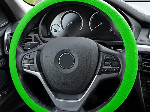 FH Group FH3001GREEN Green Steering Wheel Cover Silicone Snake Pattern Massaging grip in Color-Fit Most Car Truck Suv or Van